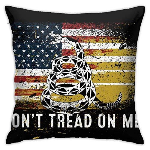 Don't Tread On Me Gadsden - Funda de cojín decorativa para sofá con diseño de serpiente de cascabel de Estados Unidos con la bandera de Estados Unidos, funda de almohada con cremallera, 45,7 x 45,7 cm
