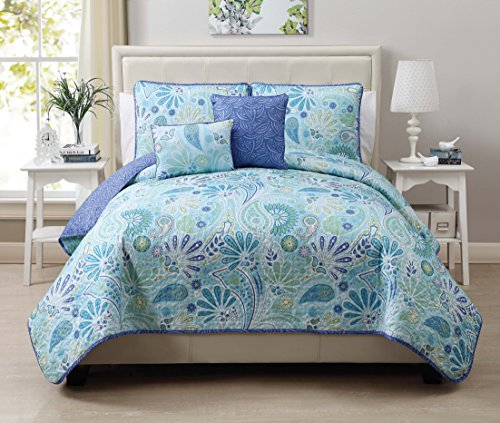 VCNY Harmony 5-Piece Reversible Quilt Set, King, Blue