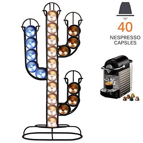 Bakaji Portacapsule Porta Capsule Caffe' Nespresso Forma Cactus Dispenser Stand in Metallo 40 Posti Colore Nero Dimensione 42 x 10 x 19,5 cm Design Moderno