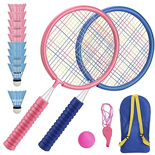 Raquetas Badminton Niños Raquetero Tenis Racket Raqueta de Juguete Deportivo Bádminton Playa al Aire Libre (1 Azul 1 Rosa)