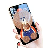 iPhone X 携帯ケース キラキラ かわいいTeddy Bear 指リング スタンド機能 ネックストラップ付き 薄型 柔らかい ソフト クリア アイフォン Xs 携帯保護カバー (iPhone X, Ring Bear 1)