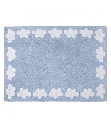 Happy Decor Kids - HDK-209 - Tapis Lavable Motif Nuages, Bleu, 120 x 160 cm