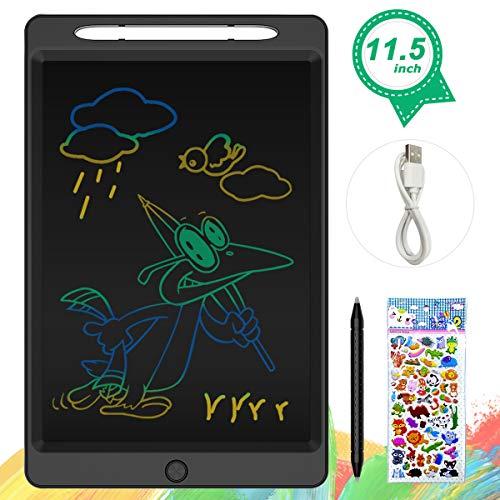 ERAY Tablet de Escritura LCD 11.5 Pulgada Colorida, Función de Bloqueo/Botón de Eliminación/Doble Punta del Lápiz/USB Carga/Anti-Golpes, Tablero de Mensaje & Dibujo para los Niños, Negro