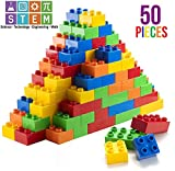 Prextex 50 Piece Classic Big Building Bricks Large Toy Blocks STEM Toy Bricks Set Compatible with All Major Brands Perfect Beginner Pack or Bricks Refill Set for All Ages