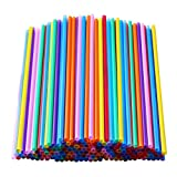 200 Pcs Colorful Plastic Long Disposable Drinking Straws. (0.23''diameter and 10.2'long)