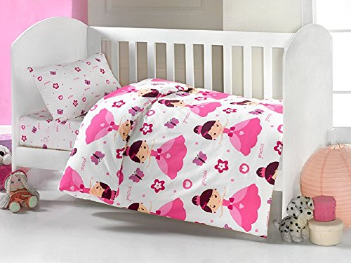 Brielle Toddler Duvet/Quilt Cover Set Bedding Set 100% Ranforce Cotton Turkish Cotton Comforter Cover Toddler Baby Bedding Sheet Set 3 Pieces 454 V1 (white pink princess)