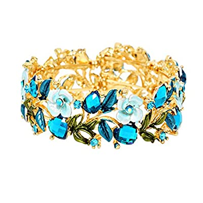 Rosemarie Collections Women's Flower and Vine Glass Crystal Fashion Cuff Bracelet