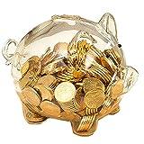 Cute Piggy Bank, Clear Glass Coin Bank Pig Money Bank for Kids Toddler Boys Girls Adults