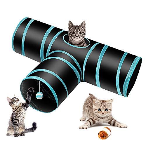 Donghoodshop Katzenspielzeug Katzentunnel 3-Wege-Spieltunnel Katze Spielzeug Hundespielzeug Spieltunnel für Katze, Welpe, Kitty, Kätzchen, Kaninchen