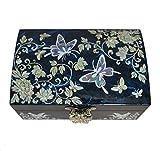 Entzückende Schmuckkästchen Blauer Schmetterling Design. Natürliche Perlmutt, Spiegel und Speicher für Ring. Koreanische traditionelle Handwerk