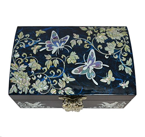 Mykoreangift Adorable Boite à Bijoux Bleu Design Papillon. Nacre Naturelle, Miroir et Rangement pour bagues. Artisanat Coréen Traditionnel