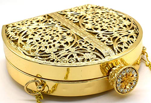 Tooba Women's Clutch (Dark Gold Metallic Matka_Dark Gold)