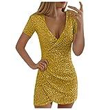 SHOBDW - Abito da donna, con scollo a V, irregolare, a maniche corte, con paillettes, vestito sottile e sexy, elegante, per feste Oro XL