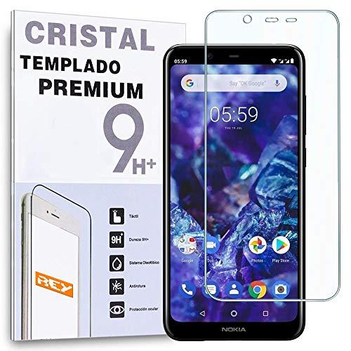 REY Protector de Pantalla para Nokia 5.1 Plus - Nokia X5, Cristal Vidrio Templado Premium