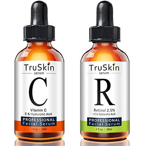 TruSkin Day and Night Serum for Face, 2-pack, Vitamin C Serum and Retinol Serum