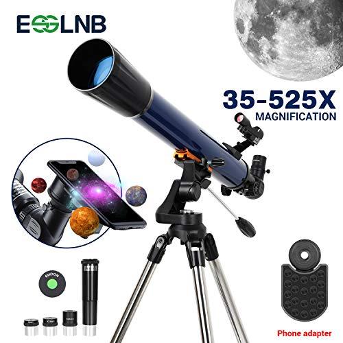 ESSLNB Teleskop Astronomie 70/700 Fernrohr Teleskop für Kinder Einsteiger mit Smartphone Adapter Aufrechtes Red Dot Suchfernrohr Stativ Barlow und Mondfilter
