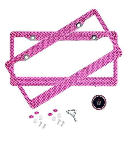 BLVD-LPF Hot Pink Crystal Rhinestone License Plate ABS Chrome Frame with Crystal Screw Caps - Set of 2 Frames