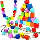 Toyssa 42 Piezas Madera Cuentas de Encaje para Niños Montessori Juguetes Educativos Juguete Madera para Niños Niñas Navidad Cumpleaños Regalo