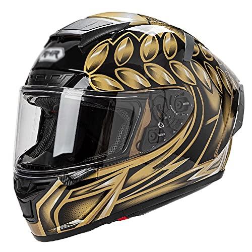 Casco per Moto Casco Integrale da Moto Caschi Integrali DOT ECE Omologato per Donna o Uomo Attrezzatura per Motociclisti Quattro Stagioni Universale (Color : Gold)