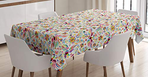 ABAKUHAUS Mexicano Mantele, Colorido étnico Naturaleza, Fácil de Limpiar Colores Firmes y Durables Lavable Personalizado, 140 x 200 cm, Multicolor