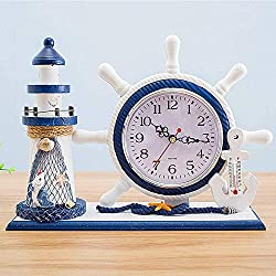 Daisy House Mediterranean Style Nautical Silent Desk Clock Anchor Lighthouse Helm Wooden Clocks Sailboat Steering Wheel Shelf Clocks Home Decor Clock Ornament (10.63x3.35x8.07-Helm Thermometer)
