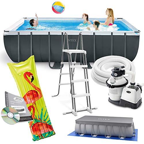 Intex 549x274x132 cm Ultra Frame Swimming Pool 26356 Komplett-Set mit Extra-Zubehör wie: Luftmatratze