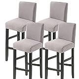 Facai - Funda de taburete de bar con respaldo, juego de 4 elásticos, funda para silla de comedor, taburetes altos, extensible, funda para silla de pub, color gris