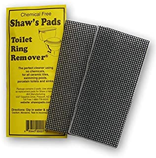 Shaw's Pads Toilet Ring Remover - Environmentally Friendly Cleaner Pads for Use on Porcelain Toilets, Ceramic Tiles, Sinks and More (3 Pack)