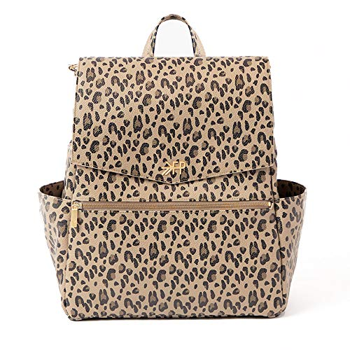 Freshly Picked - Convertible Classic Diaper Bag Backpack - Large Internal Storage 10 Pockets Wipeable Vegan Leather (Leopard)