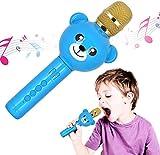 Karaoke Mikrofon Bluetooth, Tragbare Drahtlose Mikrofon Stereo Player Multifunktionell Dynamisches Mikrofon Mit Lautsprecher Für Musik Spielen/KTV/Party Kompatibel Mit Android/IOS/PC Laptop,Blau