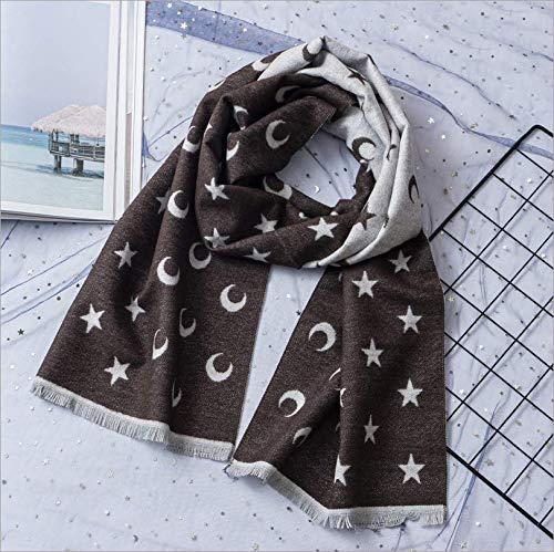 Herfst en winter eenkleurig imitatie kasjmier mode kinderen sjaal cartoon maan druk lange hak warme sjaal C