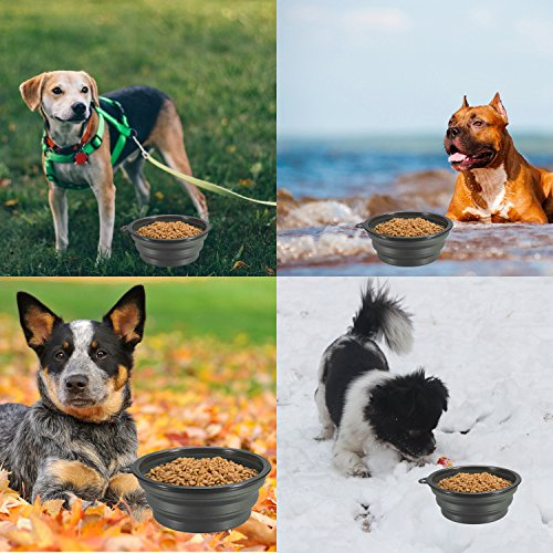 COMSUN Collapsible Dog Bowls, 2-Pack Foldable Expandable Cup Dish for Pet Cat Hiking Food Water Feeding Dog Travel Bowl