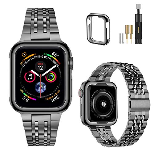 MioHHR Upgraded Version Metal Bands Compatible with Apple Watch band 38/ 40/ 42/ 44mm, Solid Stainless Steel Replacement Wristbands Strap for iWatch SE Series 6/5/4/3/2/1 (Space Gray,38/40mm)