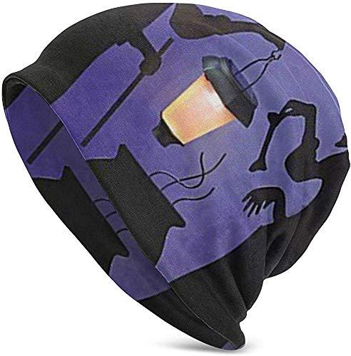 Hexe Kessel Topf Solar beleuchtete Laterne Halloween Silhouette Damen Winter Stricken Slouchy Beanie Mütze warme Skull Cap Hüte für Männer