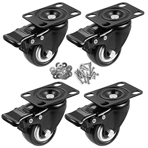 Orieta 2' Caster Wheels Set of 4, Heavy Duty Casters with Brake, No Noise Locking Casters with Polyurethane (PU) Wheels, Swivel Plate Castors Pack of 4 (2 inch, Black)