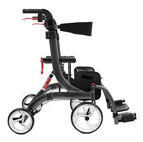 Besco Medical Faltbarer Leichtgewicht-Rollator und Transport-Rollstuhl Spring Vario aus Aluminium, mit Fußstützen, Federung, komplette Ausstattung