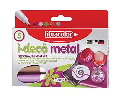 Fibracolor I-Deco' Metal Pack met 5 viltstiften grof metallic