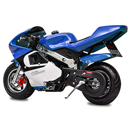 Fit Right 2020 Mini Gas Pocket Bike 02 On 40cc 4 Stroke, Support Up to 165 lbs, EPA Approved, Perfect Mini Pocket Bike for Kids (Blue)