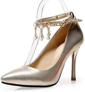 BalaMasa Womens Solid Burnished Fringed Urethane Pumps Shoes APL10664