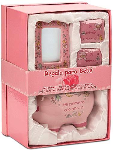 BRUBAKER Regalo para Bebé niña Mi primera alcancía con caja para mi primer diente, caja para mi primer rizo y marco de la foto - Rosa - Español