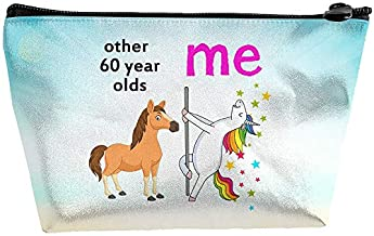 Women's Makeup Bag , Funny Other 60 Year Old Me Unicorn , 60th Birthday Gift , Portable Storage Bag with Zipper Closure for Travel Cosmetics Make Up Brush Toiletry Jewelry Digital Accessories