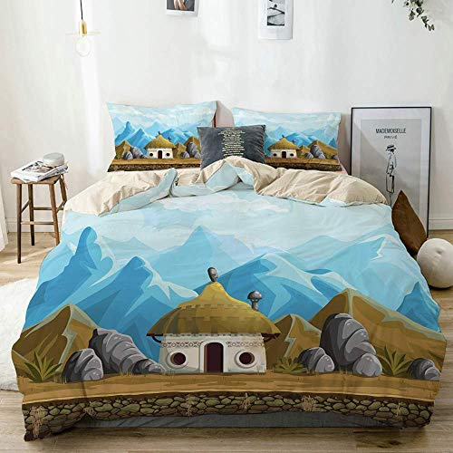 Qoqon Duvet Cover Set Beige,Hut in The Mountains Asian Steppe Architecture with Cartoon Pattern,Decorative 3 Piece Bedding Set with 2 Pillow Shams