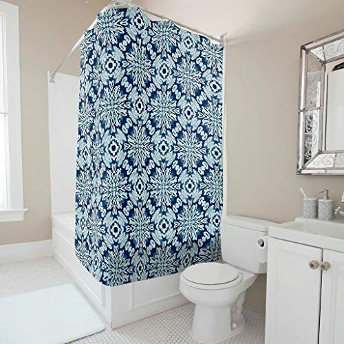 Dofeely Boho Indigo Tie Dye Blumen Muster Duschvorhang Anti-Schimmel Wasserdichtes Design Vorhang Badewannenvorhang für Badewanne B x H:200x200cm White 120x200cm