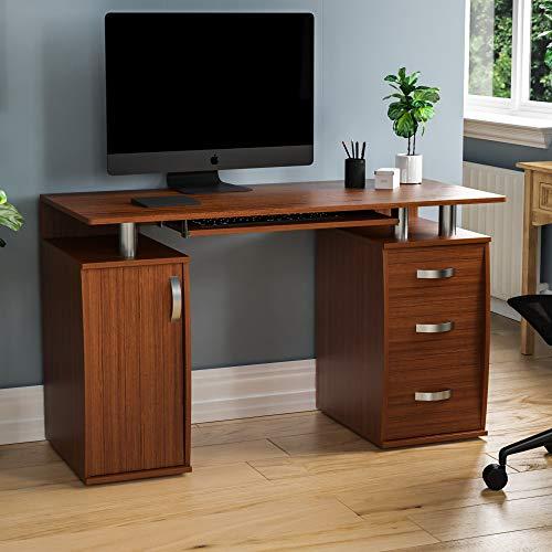 Vida Designs Otley scrivania ripiani e 3 cassetti, per casa e ufficio, tavolo da gioco per computer portatile, postazione di lavoro con vassoio per tastiera, mobili, noce, 3 Drawer