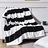 Vessia Large Flannel Fleece Plush Blanket Throw Size(50'x70') - Black and White Stripe Lightweight Blanket - Super Soft Cozy Microfiber Blanket for Chair, Sofa, Couch, Bed, Camping, Travel