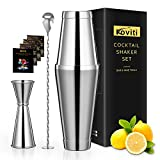 Cocktail Shaker - Koviti 3 Piece Bartender Kit - Stainless Steel Cocktail Shaker Set, Premium Bar Set for Home, Bars, Parties and Traveling(Silver)