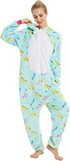 Coral Fleece Colorful Unicorn One-Piece Onesies Pajama for Unisex Kids Boy/Girl and Adults