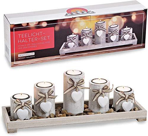 Teelichthalter auf Tablett mit Stein-Dekoration & Verschiedene Designs aus Holz, Teelichthalter Set Tischdekoration im Geschenkkarton, für 3/5 Teelichter, Landhaus Dekoration (5-Teilig)
