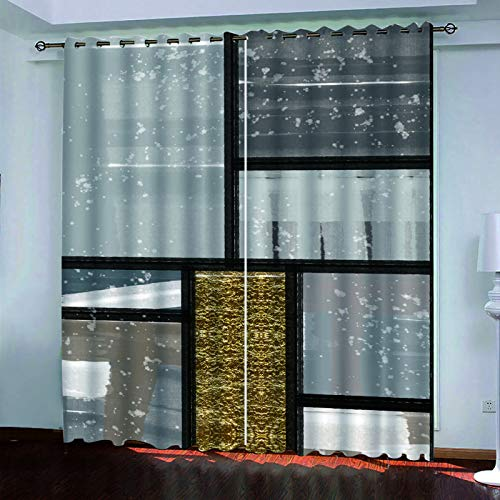YUNSW 2-Piece Perforated Curtains, 3D Animal Series Lion Curtains, Decorative Curtains For Garden Living Room Bedroom Kitchen