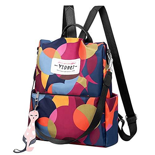 Sfit Damen Rucksack Daypack Umhängetasche Reiserucksack Schulrucksack Backpack Schultertasche mit bunt Drucken Anti Diebstahl Tasche für Schule Reise Arbeit (32 * 13 * 33 cm, Mehrfarbig)